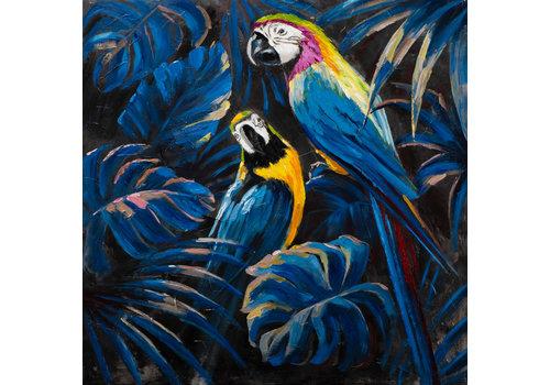 Fine Asianliving Tableau sur Toile Perroquets Bleus Giclée et Embelli à la Main L100xH100cm