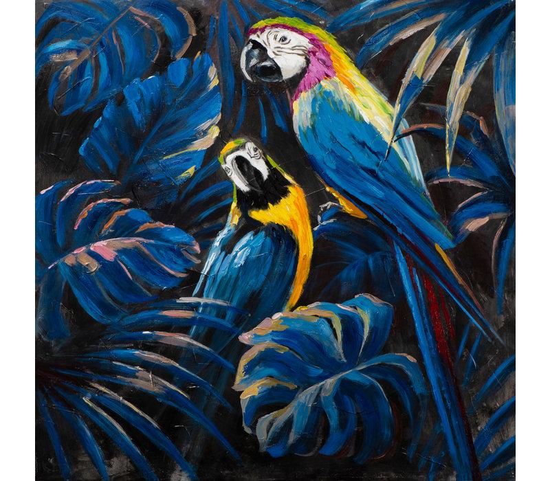 Wall Art Canvas Print 100x100cm Verliefde Blauwe Papagaaien Handgemaakt Giclee
