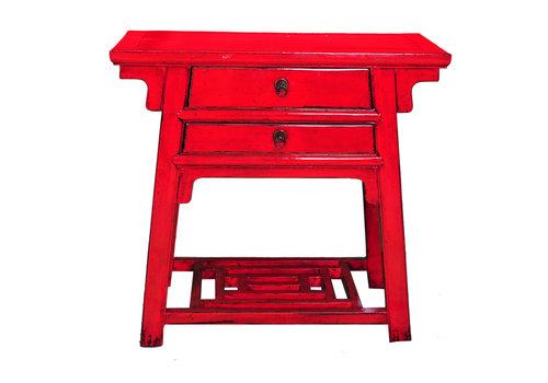 Fine Asianliving Antieke Chinese Bijzettafel Rood B86xD42xH80cm