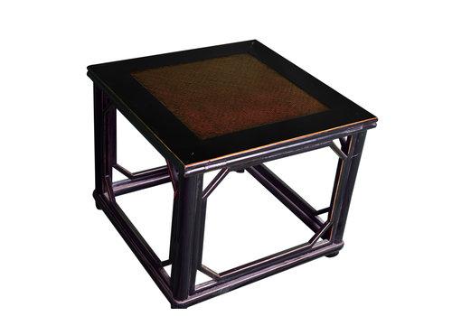Fine Asianliving Antiker Orientalischer Hocker Gartenhocker Porzellan mit Bamboo Top B60xT60xH51cm