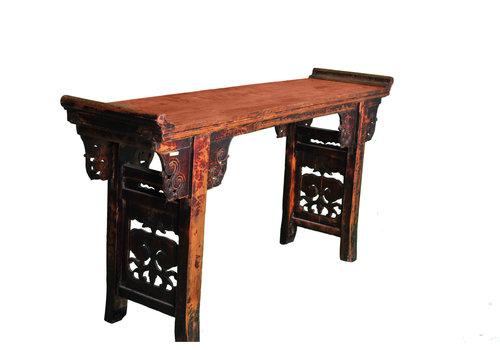 Fine Asianliving Consolle Altare Cinese Antico Intagliato a Mano L182xP46xA96cm