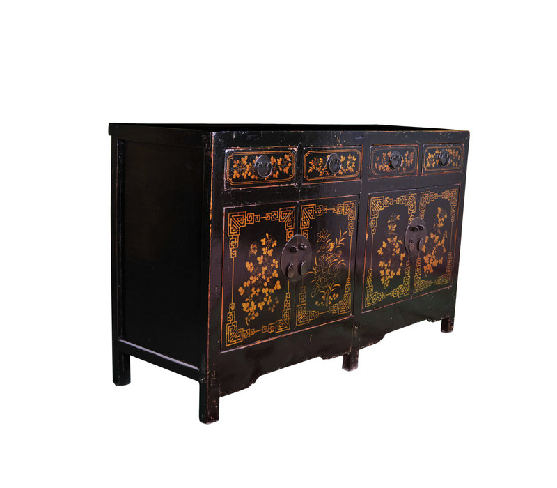 Antique Chinese Sideboard Handpainted Black Gold W161xD55xH97cm