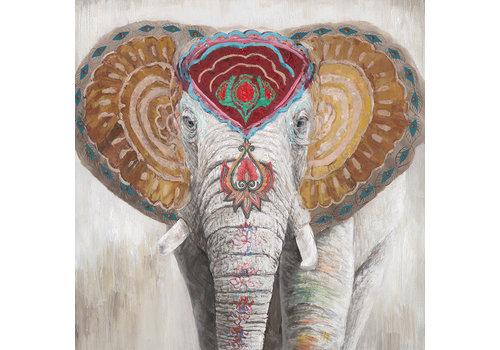 Fine Asianliving Tableau sur Toile Éléphant Indien Giclée et Embelli à la Main L100xH100cm