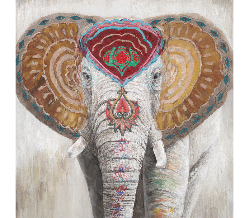Wall Art Canvas Print 100x100cm Indian Elephant Hand Embellished Giclee Handmade