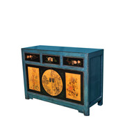 Antique Chinese Sideboard Handpainted Scenery Teal W120xD40xH85cm