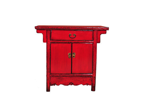 Fine Asianliving Antique Chinese Cabinet Red W94xD44xH86cm