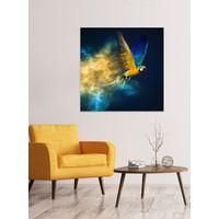 Vliegende Papagaai Digitale Print 95x95cm Acryl Glas