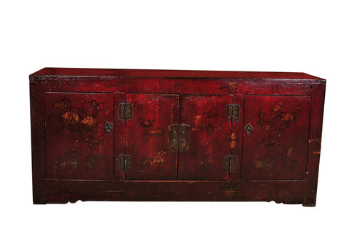 Fine Asianliving Antikes Chinesisches Sideboard Kommode Handbemalt B162xT44xH74cm