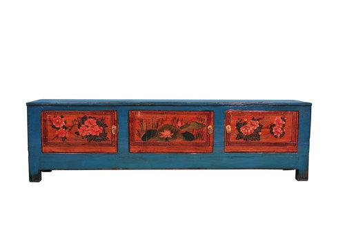 Fine Asianliving Antike Chinesische TV-Bank Handbemalt B180xT41xH52cm