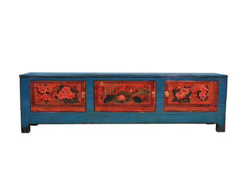 Fine Asianliving Antique Chinese TV Stand Bench Hand-painted W180xD41xH52cm
