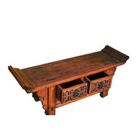 Antique Chinese Low Cabinet Handcarved W120xD34xH45cm