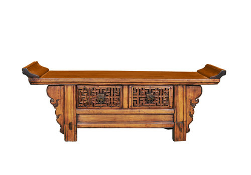 Fine Asianliving Antique Chinese Low Cabinet Handcarved W120xD34xH45cm