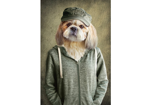 Fine Asianliving Lieve Hond In Vest Digitale Print 80x120cm Acryl Glas
