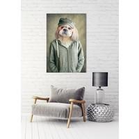 Lieve Hond In Vest Digitale Print 80x120cm Acryl Glas