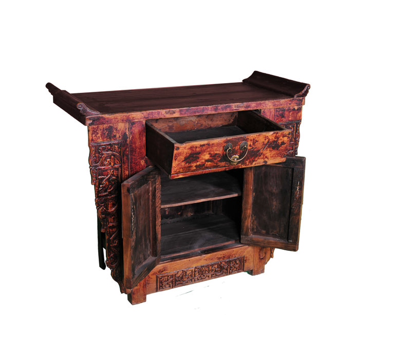 Antique Chinese Cabinet Hand-carved W110xD43xH91cm
