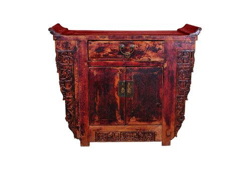 Fine Asianliving Armario Chino Antiguo de Madera Tallados a Mano Anch.110 x Prof.43 x Alt.91 cm