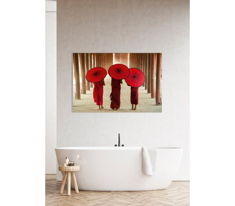 Monniken Met Paraplu Digitale Print 80x120cm Acryl Glas