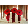 Fine Asianliving Monks with Umbrella Digitalprint 80x120cm Acrylic Glass
