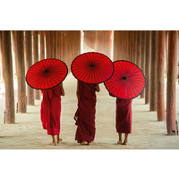 Monks with Umbrella Digitalprint 80x120cm Acrylic Glass