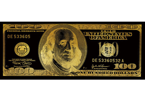 Fine Asianliving Dollar Note Black Gold Digitalprint 60x150cm Mirror