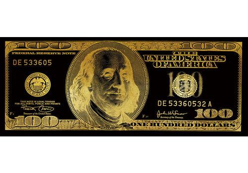 Fine Asianliving Tableau sur Miroir Billet de Dollars Black Gold L150xH60cm