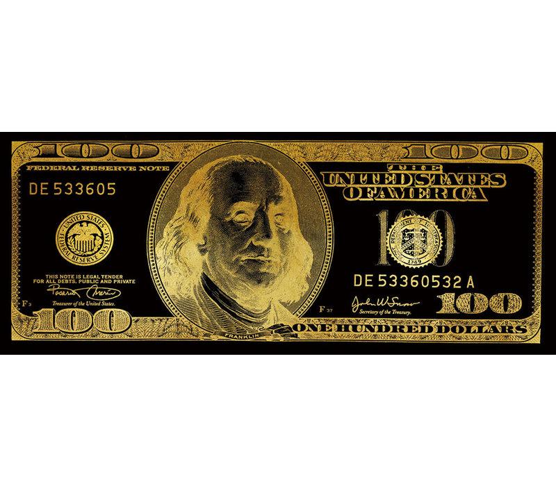 Dollar Note Zwart Goud Digitale Print 60x150cm Spiegel
