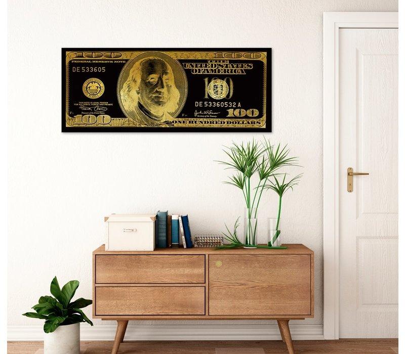 Dollar Note Zwart Goud Digitale Print B150xH60cm Spiegel