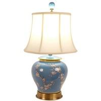 Chinesische Tischlampe Porzellan mit Schirm Handgemalt Ingwertopf Blau