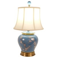 Fine Asianliving Chinese tafellamp Porselein Handgeschilderd Gemberpot Blauw