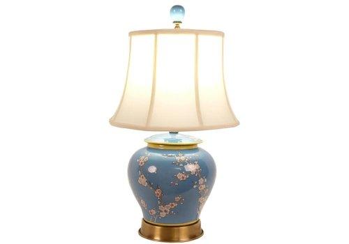 Fine Asianliving Lámpara de Mesa de Porcelana China Pintada a Mano Azul