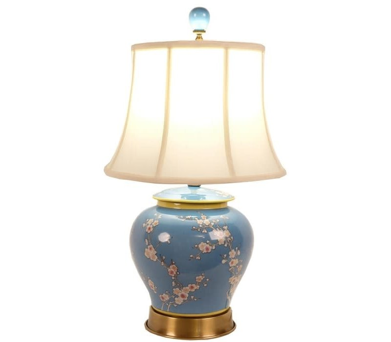 Fine Asianliving Oriental Lampe de table Porcelaine Peinte à la Main Pot de Gingembre Bleu