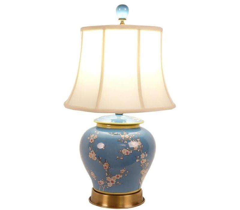 Oriental Table Lamp Porcelain Hand-Painted Ginger Pot Blue