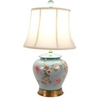 Lámpara de Mesa de Porcelana China Pintada a Mano Turquesa