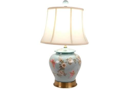 Fine Asianliving Lampada da Tavolo Cinese in Porcellana Dipinta a Mano Turchese