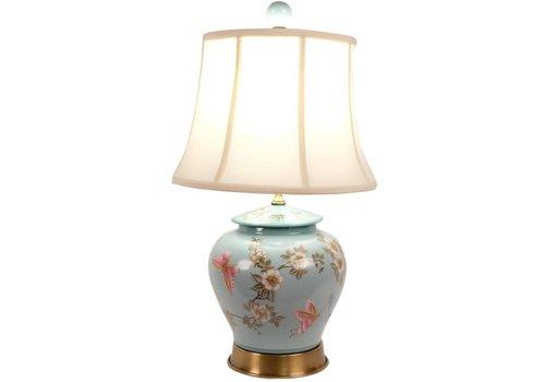 Fine Asianliving Lampe de Table en Porcelaine Chinoise Peinte Fait Main Pot de Gingembre Turquoise