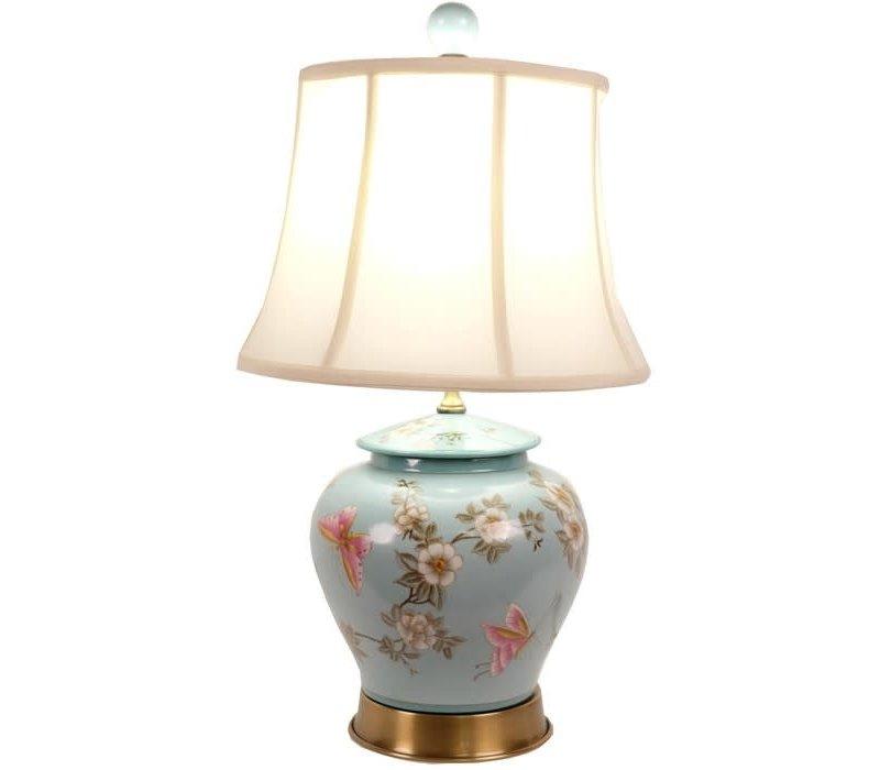 Fine Asianliving Oosterse tafellamp Porselein Handbeschilderd Gemberpot Turquoise