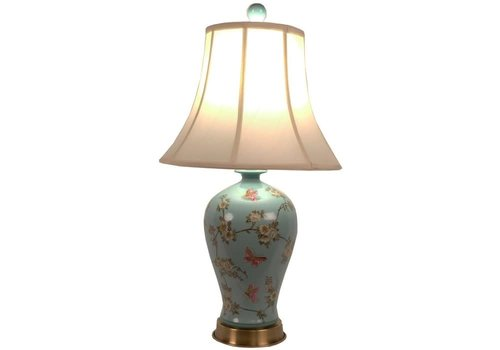 Fine Asianliving Lámpara de Mesa de Porcelana China Pintada a Mano Turquesa