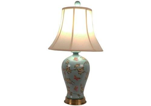 Fine Asianliving Lampe de Table en Porcelaine Chinoise Peinte à la Main Turquoise