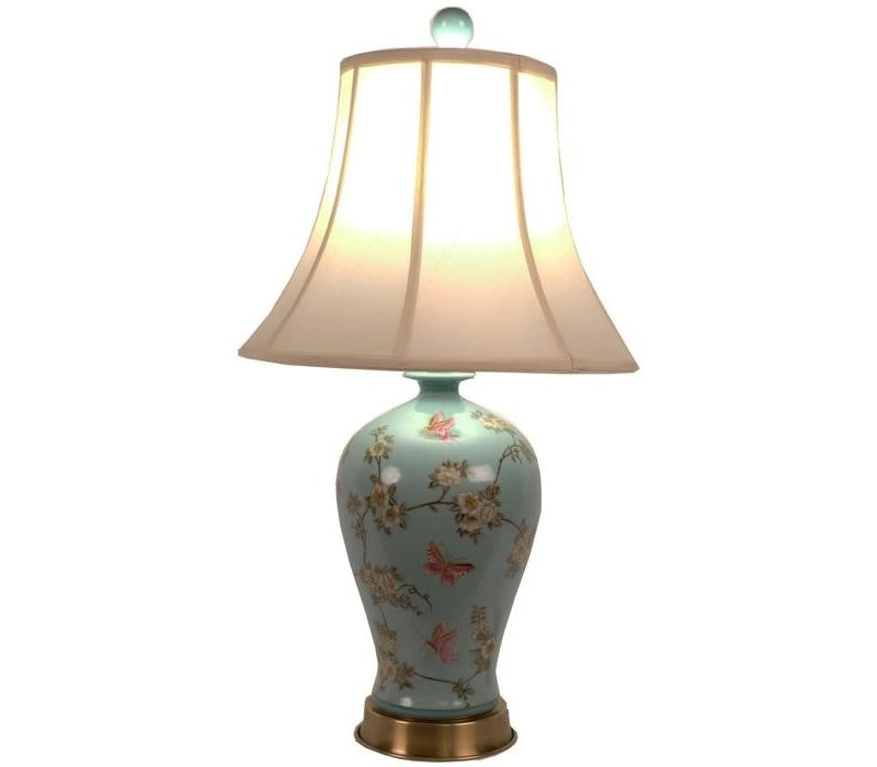 Chinese Table Lamp Porcelain Hand- Painted Turquoise