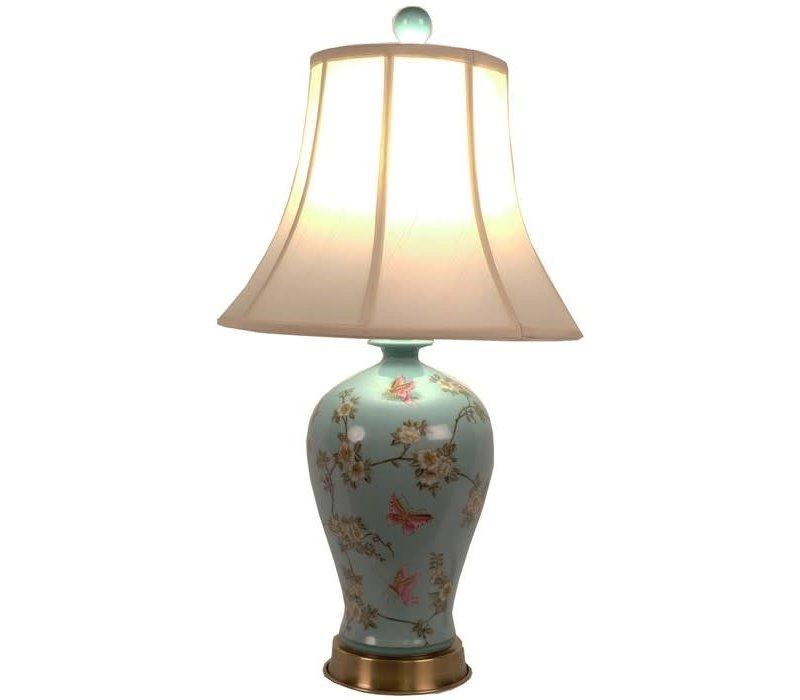 Fine Asianliving Oosterse Tafellamp Porselein Handbeschilderd Turquoise