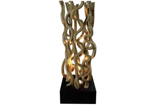Fine Asianliving Vloerlamp Solide houten Lianen Takken met Standaard Zwart 1 Halogeen 25x25x10cm H70cm