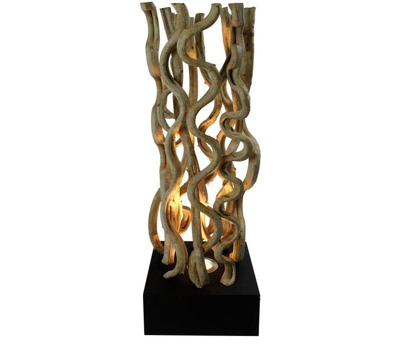 Vloerlamp Solide houten Lianen Takken met Standaard Zwart 1 Halogeen 25x25x10cm H70cm
