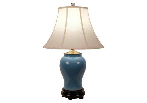 Fine Asianliving Oriental Table Lamp Porcelain Glassy Blue