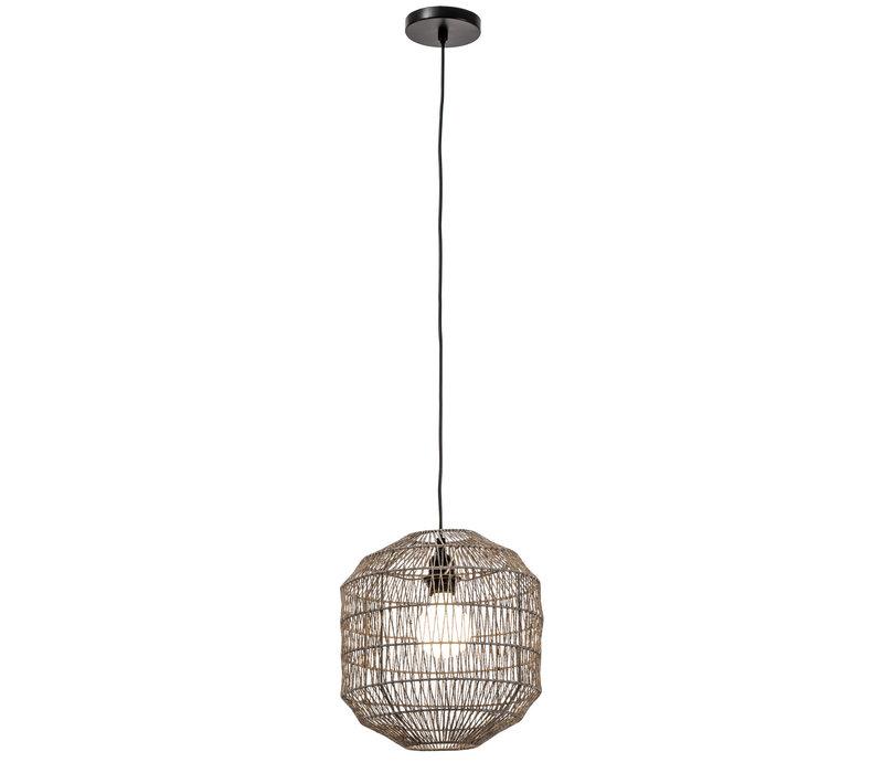 Lámpara de Techo Colgante Cuerda de Papel Tejida Negro Mate D.29xA22cm