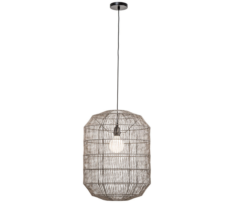 Hanglamp Touw Geweven Mat Zwart D42xH60cm