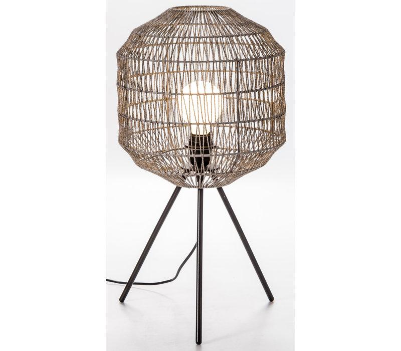 Lampe de Table Papier corde Tissé D.30xH56.5cm Noir mat Pieds en Métal