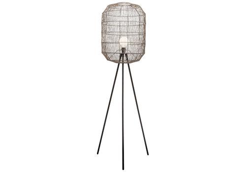 Fine Asianliving Lampada da Terra in Metallo e Corda di Carta Intrecciata Nera Opaco 51x50xA160cm