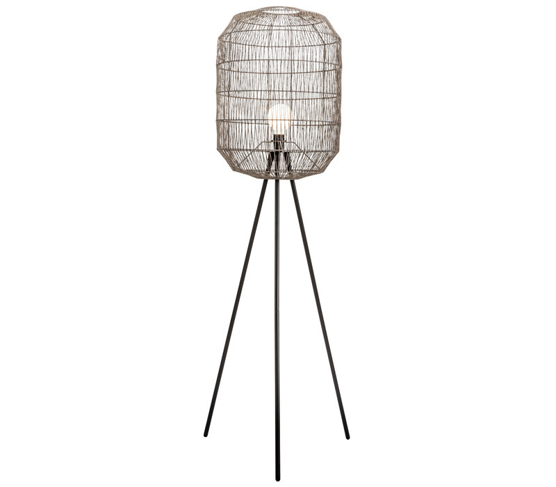 Lampada da Terra in Metallo e Corda di Carta Intrecciata Nera Opaco 51x50xA160cm