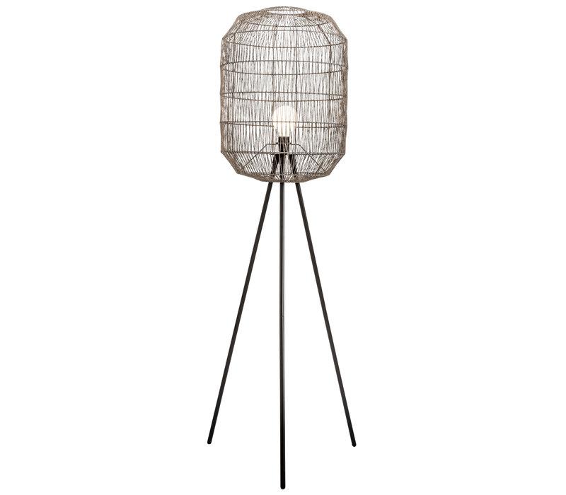 Lámpara de Pie de Metal y Cuerda de Papel Piernas Tejida Negra Mate 51x50xA160cm