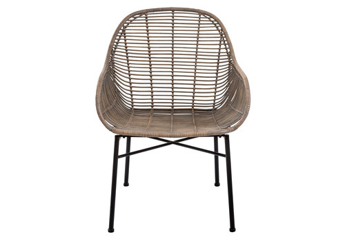 Fine Asianliving Lounge Chair Sogod Wicker Weaved Metal Frame 60x64xH79cm